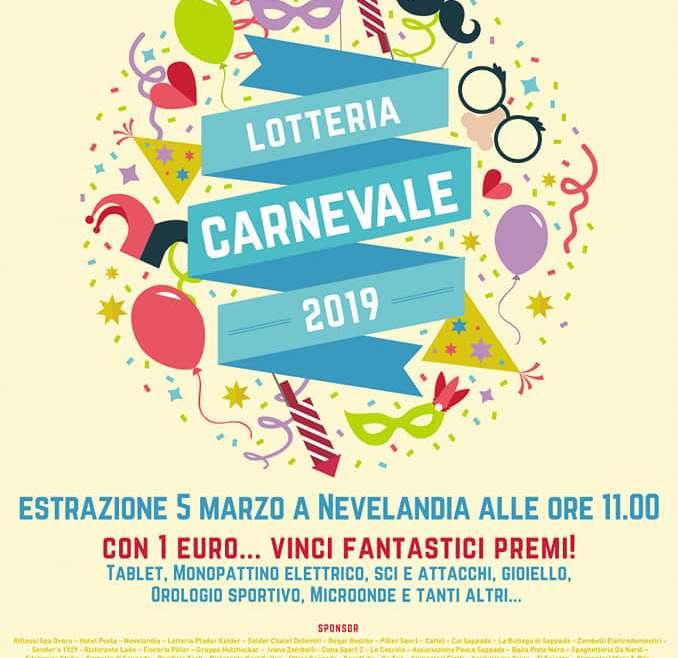 CARNEVALE SAPPADADINO – ESTRAZIONE LOTTERIA  05.03.2019